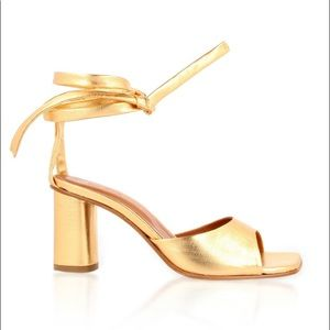 BY FAR Gold Maye Lace Up Sandals
